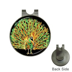 Unusual Peacock Drawn With Flame Lines Hat Clips with Golf Markers
