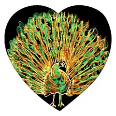 Unusual Peacock Drawn With Flame Lines Jigsaw Puzzle (heart)