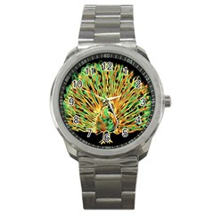 Unusual Peacock Drawn With Flame Lines Sport Metal Watch