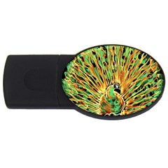 Unusual Peacock Drawn With Flame Lines Usb Flash Drive Oval (4 Gb)