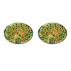 Unusual Peacock Drawn With Flame Lines Cufflinks (oval)