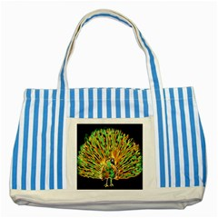 Unusual Peacock Drawn With Flame Lines Striped Blue Tote Bag
