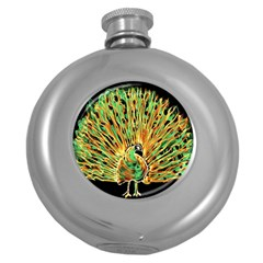 Unusual Peacock Drawn With Flame Lines Round Hip Flask (5 Oz)
