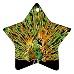 Unusual Peacock Drawn With Flame Lines Star Ornament (Two Sides)