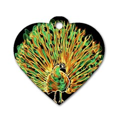 Unusual Peacock Drawn With Flame Lines Dog Tag Heart (one Side)