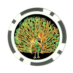Unusual Peacock Drawn With Flame Lines Poker Chip Card Guard