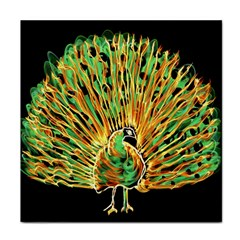 Unusual Peacock Drawn With Flame Lines Face Towel