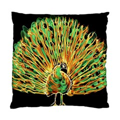 Unusual Peacock Drawn With Flame Lines Standard Cushion Case (two Sides)