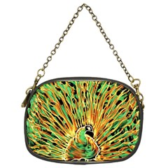 Unusual Peacock Drawn With Flame Lines Chain Purses (two Sides)