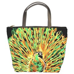 Unusual Peacock Drawn With Flame Lines Bucket Bags