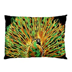 Unusual Peacock Drawn With Flame Lines Pillow Case