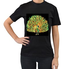 Unusual Peacock Drawn With Flame Lines Women s T-Shirt (Black)