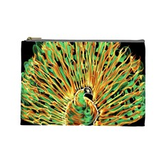 Unusual Peacock Drawn With Flame Lines Cosmetic Bag (large)