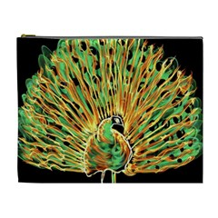 Unusual Peacock Drawn With Flame Lines Cosmetic Bag (XL)