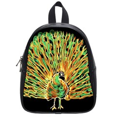 Unusual Peacock Drawn With Flame Lines School Bags (small)
