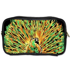 Unusual Peacock Drawn With Flame Lines Toiletries Bags