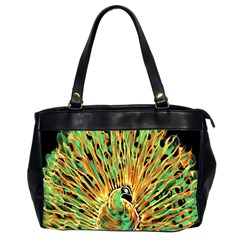 Unusual Peacock Drawn With Flame Lines Office Handbags (2 Sides)