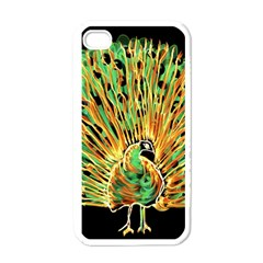 Unusual Peacock Drawn With Flame Lines Apple Iphone 4 Case (white)