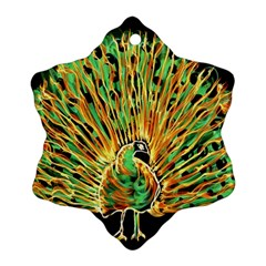 Unusual Peacock Drawn With Flame Lines Snowflake Ornament (two Sides)