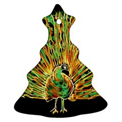 Unusual Peacock Drawn With Flame Lines Christmas Tree Ornament (Two Sides)
