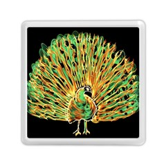 Unusual Peacock Drawn With Flame Lines Memory Card Reader (square)