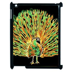 Unusual Peacock Drawn With Flame Lines Apple iPad 2 Case (Black)