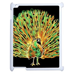 Unusual Peacock Drawn With Flame Lines Apple iPad 2 Case (White)