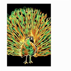 Unusual Peacock Drawn With Flame Lines Large Garden Flag (two Sides)