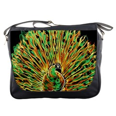 Unusual Peacock Drawn With Flame Lines Messenger Bags