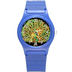 Unusual Peacock Drawn With Flame Lines Round Plastic Sport Watch (s)
