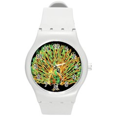 Unusual Peacock Drawn With Flame Lines Round Plastic Sport Watch (M)