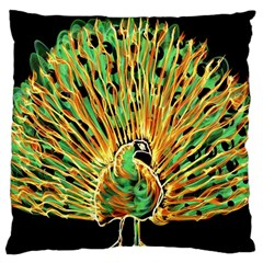 Unusual Peacock Drawn With Flame Lines Large Cushion Case (One Side)