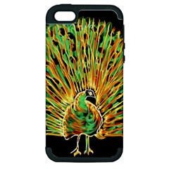 Unusual Peacock Drawn With Flame Lines Apple Iphone 5 Hardshell Case (pc+silicone)