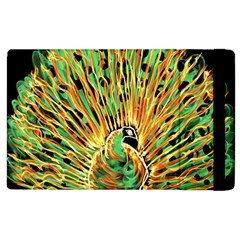 Unusual Peacock Drawn With Flame Lines Apple Ipad 3/4 Flip Case