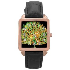 Unusual Peacock Drawn With Flame Lines Rose Gold Leather Watch