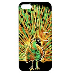 Unusual Peacock Drawn With Flame Lines Apple Iphone 5 Hardshell Case With Stand