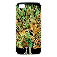 Unusual Peacock Drawn With Flame Lines Apple Iphone 5 Premium Hardshell Case