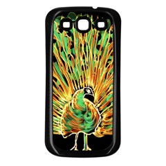 Unusual Peacock Drawn With Flame Lines Samsung Galaxy S3 Back Case (black)