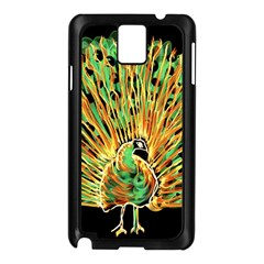 Unusual Peacock Drawn With Flame Lines Samsung Galaxy Note 3 N9005 Case (black)