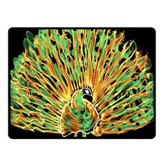 Unusual Peacock Drawn With Flame Lines Double Sided Fleece Blanket (small)
