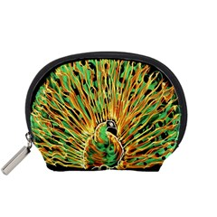 Unusual Peacock Drawn With Flame Lines Accessory Pouches (Small)