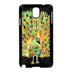Unusual Peacock Drawn With Flame Lines Samsung Galaxy Note 3 Neo Hardshell Case (black)