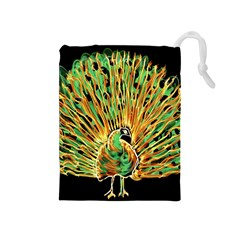 Unusual Peacock Drawn With Flame Lines Drawstring Pouches (Medium)