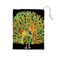 Unusual Peacock Drawn With Flame Lines Drawstring Pouches (Large)