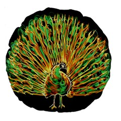 Unusual Peacock Drawn With Flame Lines Large 18  Premium Flano Round Cushions