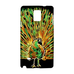 Unusual Peacock Drawn With Flame Lines Samsung Galaxy Note 4 Hardshell Case