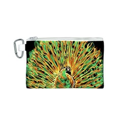 Unusual Peacock Drawn With Flame Lines Canvas Cosmetic Bag (s)
