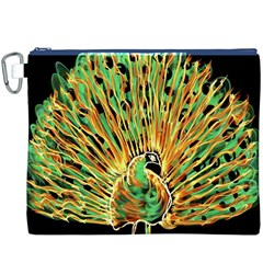 Unusual Peacock Drawn With Flame Lines Canvas Cosmetic Bag (xxxl)