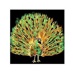 Unusual Peacock Drawn With Flame Lines Small Satin Scarf (square)