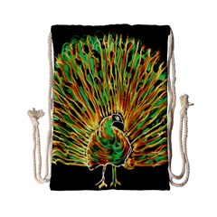 Unusual Peacock Drawn With Flame Lines Drawstring Bag (small)